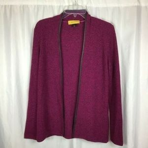 St John DamierPink Leather Trim Cardigan